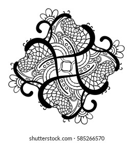 Square ornamental hand drawn mandala for coloring book, Isolated design element