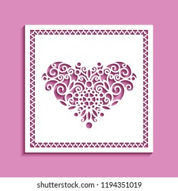 Square panel with cutout heart pattern, lace doily, vector template for laser cutting, ornamental decoration for wedding invitation or Valentines day card design,