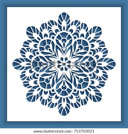 square panel cutout snowflake pattern ornamental stock vector