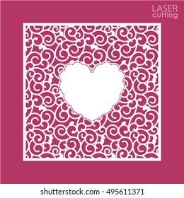 A square panel with lace pattern and heart inside. Template for interior design, layouts wedding cards, invitations, etc. Image suitable for laser cutting, plotter cutting or printing.