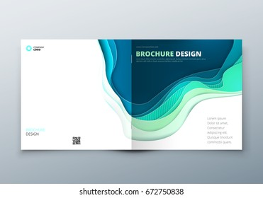 Square paper cut brochure design. Rectangle Paper carve abstract cover for brochure flyer magazine annual report or catalog design. Concept in teal green colors for eco nature health medical brochure