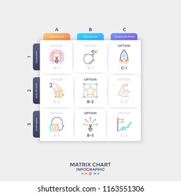 Square paper white matrix chart with colorful thin line symbols inside cells. Table with 9 options to choose. Clean infographic design template. Vector illustration for presentation, website.