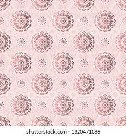 Square pattern with mandalas. Vector seamless drawing.