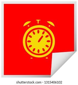 square peeling sticker cartoon of a alarm clock
