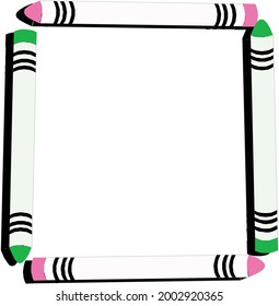 Square Pencil Frame Background  Symbol Pink Grenn