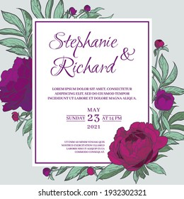 Square peony flower frame. An invitation template for a wedding, anniversary or holiday. Hand drawn vector illustration.