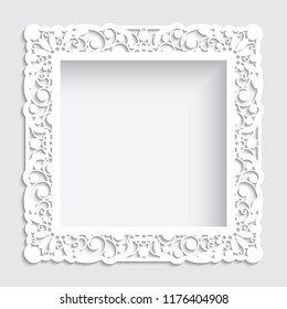 Square photo frame with cutout paper swirls, vector border ornament, template for laser cutting, vintage lace decoration for greeting card or wedding invitation design