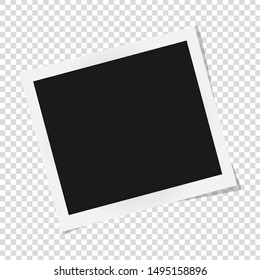 Square photo frame template with shadows isolated on transparent background. Polaroid vector illustration