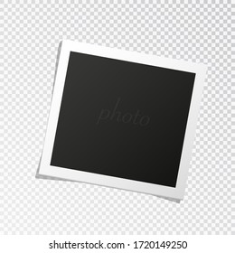 Square photo frame template with shadows isolated on transparent background. vector illustration