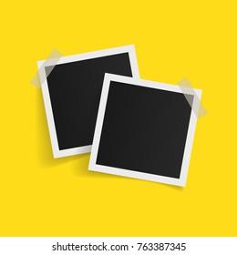 Square photo frames on sticky tape on white background. Vector illustration.
