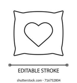 Square pillow with heart shape linear icon. Thin line illustration. Cushion. Contour symbol. Vector isolated outline drawing. Editable stroke