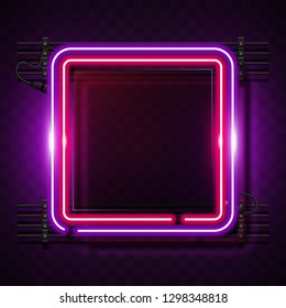 Square pink neon banner
