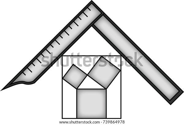 Square Pitagora Symbol Masonic Symbol Past Stock Vector