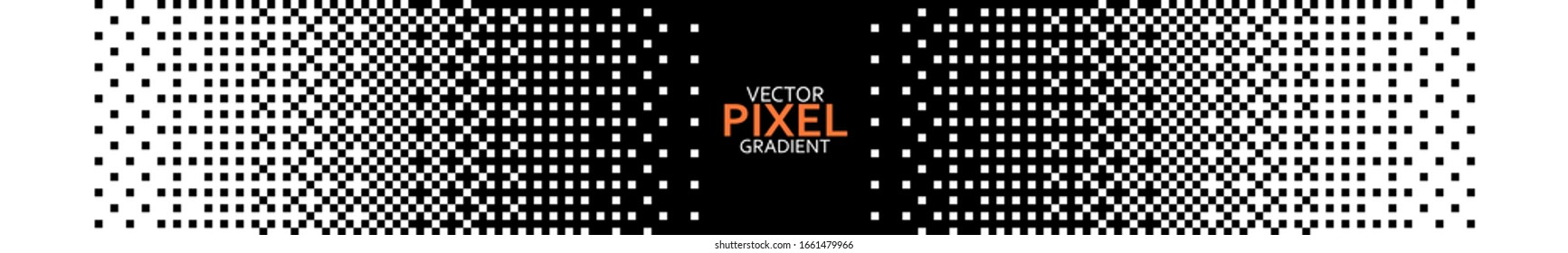 Square Pixel Halftone. Black and white linear gradient. Vector Backdrop. Dithering effect. Pixel gradient abstract mosaic background for modern design. 8/16 bit background.