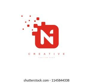 Square Pixel N Letter Vector Logo Design