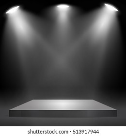 Square podium, pedestal or platform  illuminated by spotlights on black background. Stage with scenic lights. Vector illustration.