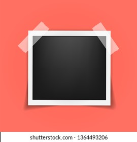 Square Polaroid frame template on sticky tape with shadows isolated. Living coral - color of 2019 year. Memories concept in modern style. Vector illustration