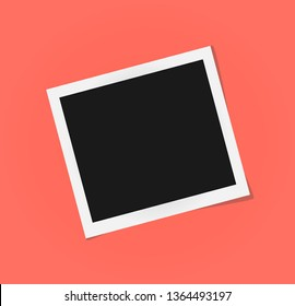 Square Polaroid frame template with shadows isolated. Living coral - color of 2019 year. Memories concept in modern style. Vector illustration