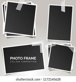 square Polaroid photo frames on a gray background