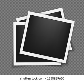 Square polaroid realistic frames template with shadows isolated on transparent background. Polaroid vector illustration