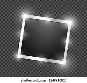Square Polaroid realistic silver shining frame template with shadows isolated on transparent background. Vector polaroid illustration