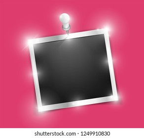 Square Polaroid realistic silver shining frame template on metal pin with shadows isolated on pink background. Vector polaroid illustration