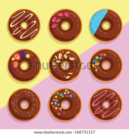 Square Pop Art Poster With Chocolate Cake Doughnuts Template For Walls Decoration Print Donut