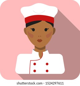 Square portrait of a female cook / chef in white and red uniform and chef hat, pink background, vector graphics, vector illustration