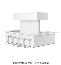 Square POS POI Blank Empty Retail Stand Stall Bar Display With Bar Stools, Chairs, Canopy, Roof, Banner. On White Background Isolated. Mock Up Template Ready For Your Design. Product Advertising