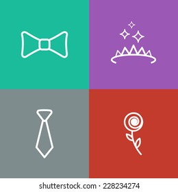 Square prom icons set. Vector flat design