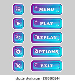 Square purple and blue buttons of different sizes with icons and menu labels, play, replay, options, exit, for the design of interfaces and menus of applications and games.