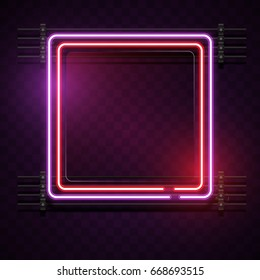 Square Purple and red Neon light