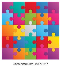 Square puzzle. 25 color parts.