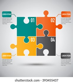 Square Puzzle Piece Infographics Template With Business Concept