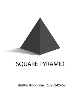 Square pyramid black geometric figure that casts shade. Three-dimensional shape with side in form of triangle and square base vector illustration.