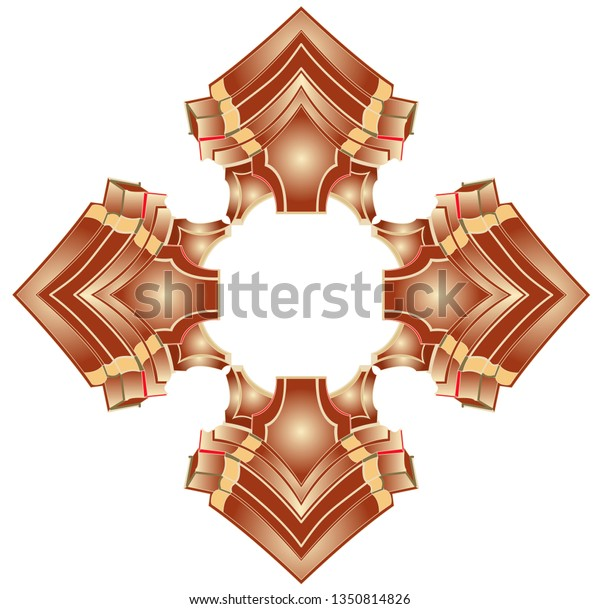A square with pyramidal ornaments in the corners inside and in conjunction leave the center blank for use.