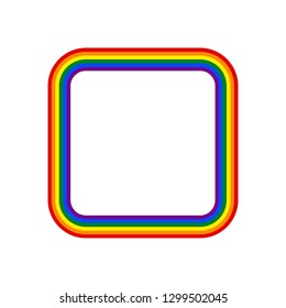 Square rainbow pride flag LGBT movement. This vector illustration a graphic element for design.
