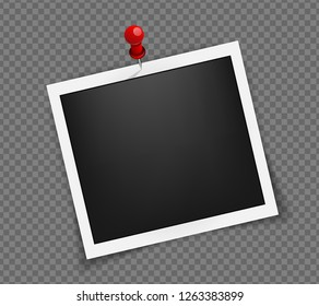 Square realistic frame template on red pin with shadows isolated on transparent background. Polaroid photo frame. Vector illustration