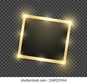Square realistic golden shining frame template with shadows isolated on transparent background. Vector illustration