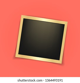 Square realistic golden shining Polaroid frame template with shadows isolated. Living coral - color of 2019 year. Memories concept in modern style. Vector illustration