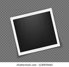 Square realistic polaroid frame template with shadows isolated on transparent background. Polaroid vector illustration