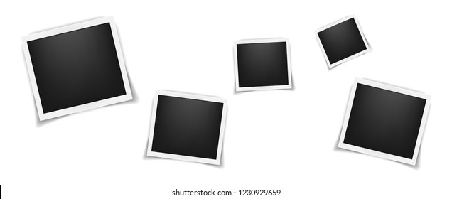 Square realistic polaroid frames template background. Retro Polaroid backdrop pattern. Vector illustration