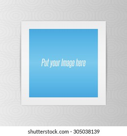 Square realistic Template of Photo Sheet with Shadows, editable for your Art or Design