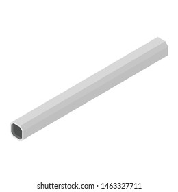 Square rectangle steel metallic tube pipe profiles industry manufacturing construction structure products white background isometric view