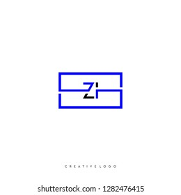 Square rectangular purple and black zi logo letters design concept for technology