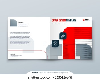 Square Red Brochure Design. A4 Cover Template for Brochure, Report, Catalog, Magazine. Brochure Layout with Bright Color Square Shapes and Abstract Photo on Background. Modern Brochure concept