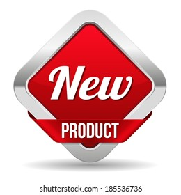 Square red new product button with ribbon on white background