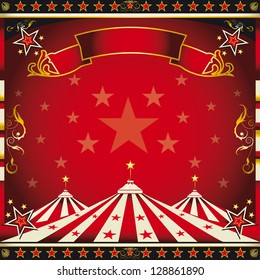 Square red vintage circus. A circus square leaflet for the announcement of your show