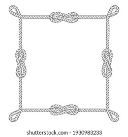 Square rope frame with knots and corner loops, vector