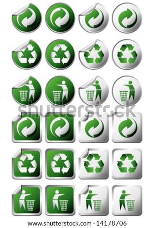 Square Round Recycle Symbol Stickers Without Stock Vector Royalty